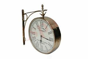 New-Outdoor-Nautical-Brass-Station-Wall-Clock-12-Inch-Roman-Number