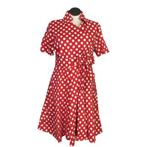 Retro Women 24W Surplice Fit Flare Polka Dot Dress Red SS Full Skirt Rockabilly