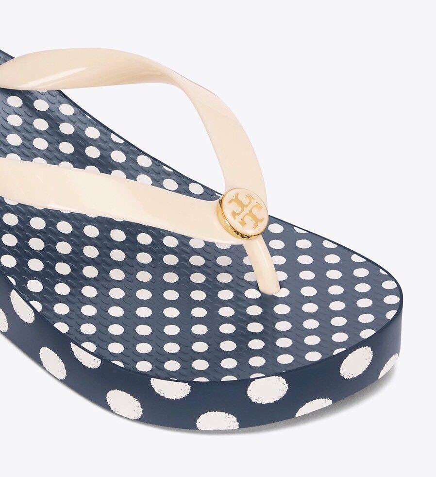 L@@K  NWT NEW Size 8 Tory Burch Wedge Flip Flop Ivory  Micro Dot Reva Gift