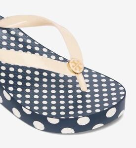 69a627a22b331 L  K! NWT NEW Size 8 Tory Burch Wedge Flip Flop Ivory  Micro Dot ...