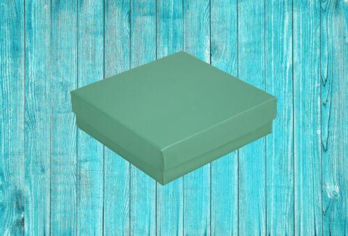 Teal Blue Caja de cartón Joyería Collar Colgante Pendiente Cuadrado Cajas De Regalo