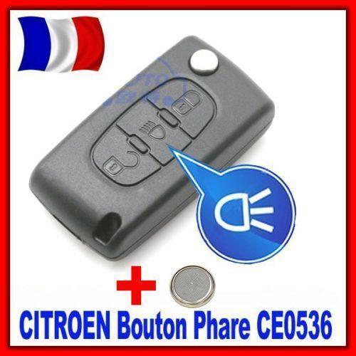 Pile Coque Télécommande Clé Pour Peugeot 207//307//407//807 Bouton Phare CE0536