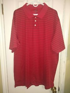 Champs-Sports-Mens-Red-with-Black-Stripes-Top-Button-Polo-Shirt-Size-3XL