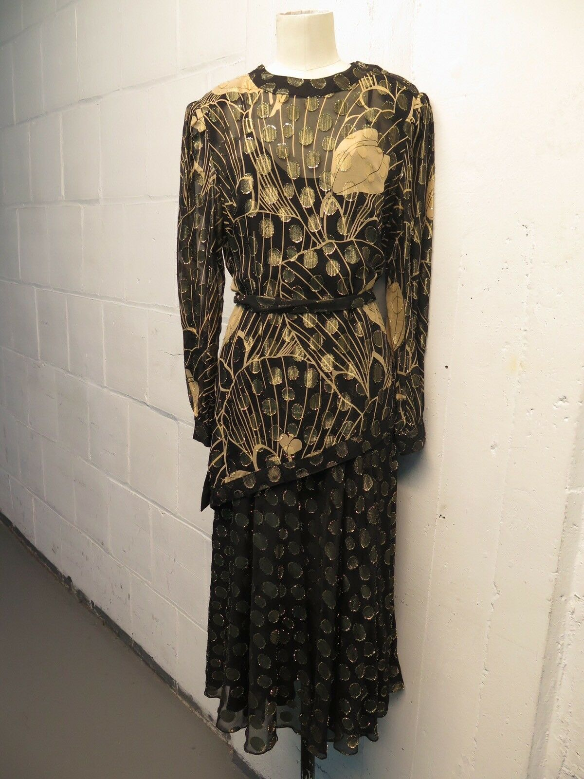 Vintage The Silk Farm Sheer Silk Floral  Silk Two Piece Dress Sz 10 M