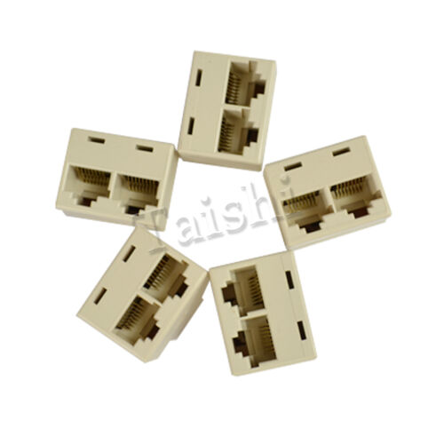 5x 6 internet cable LAN Port 1 to 2 Socket Splitter Connector RJ45 ISDN CAT5