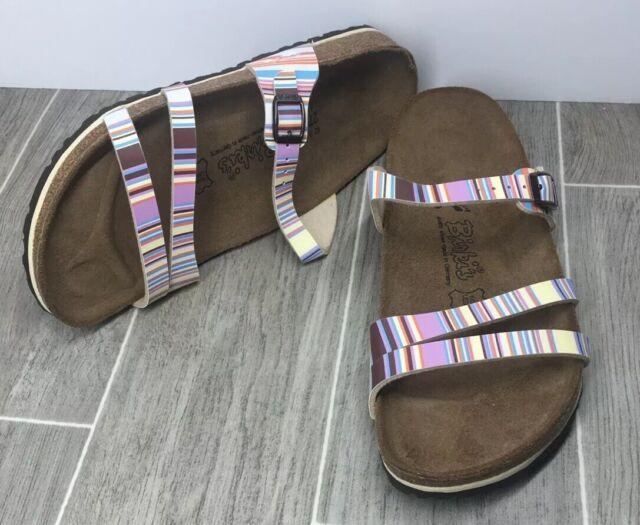 Birki's Birkenstocks Multi Color Rainbow Stripes Womens Sandals Size 42 L11 M9