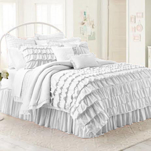 WHITE WATERFALL RUFFLED SOLID DUVET COVER 3PC SET 1000TC 100% COTTON CHOOSE SIZE