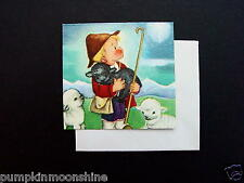 Unused Eva Harta Crestwick Xmas Greeting Gift Card Boy Shepherd with Black Sheep
