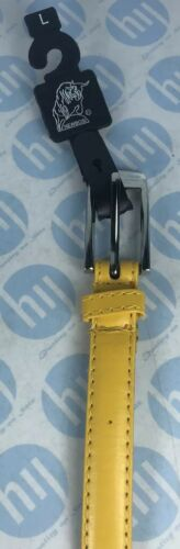 """Ladies Skinny Leather Belt 18mm X 110cm Long Fits To 35""""-41""""Size M Yellow Colour"""