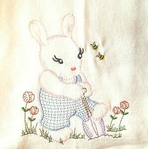 BUNNY-AND-BEES-PATTERN-MACHINE-EMBROIDERED-FLOUR-SACK-DISH-TOWEL
