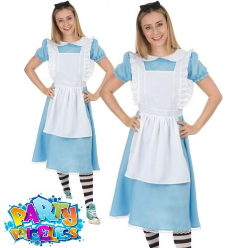 Adult Lady Alice Costume Fairytale Wonderland World Book Day Fancy Dress Outfit