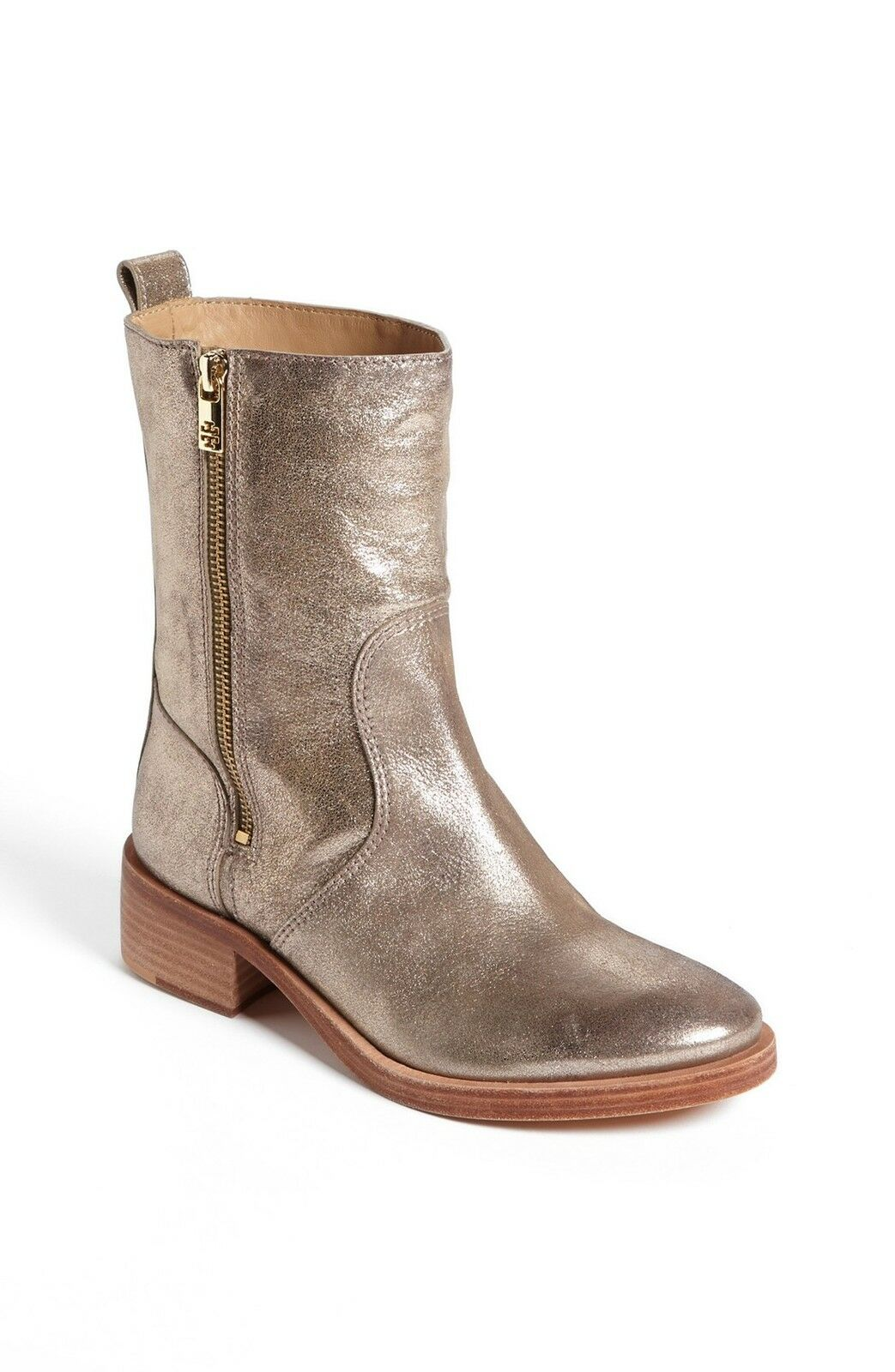 NEW $395+ Tory Burch Gold Metallic Leather HALLE Bootie Mid Boot Shoe Sz 6
