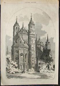 Dom zu WORMS. Sehr großer original Holzstich (23cm x 34cm) von 1867