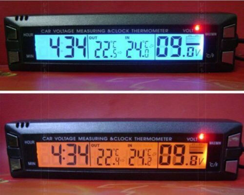 Auto Car Temperature Voltage Clock Digital LCD Thermometer Meter Monitor Alarm P