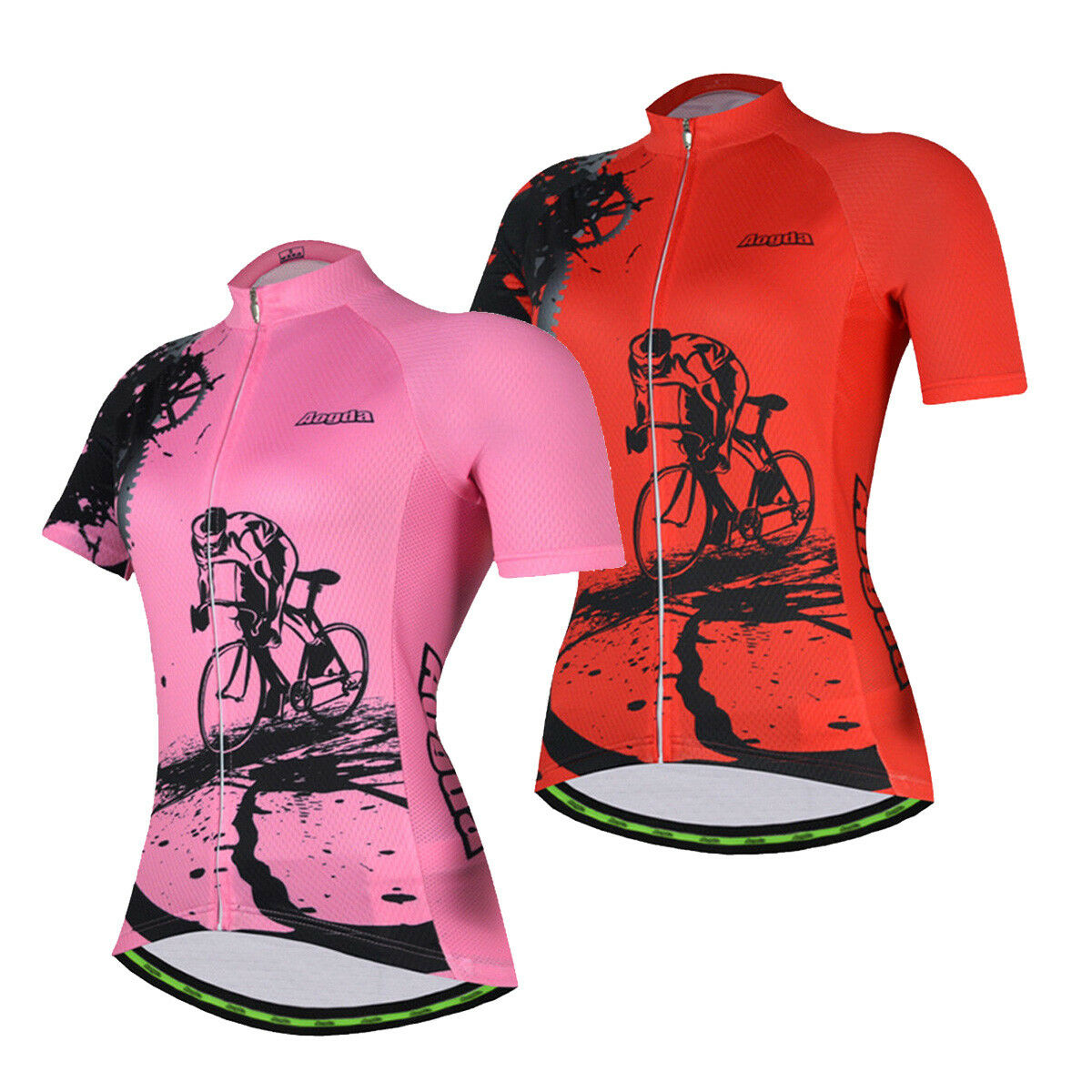Pink   Red Women's Bike Bicycle Shirt Jersey Reflective Cycling Jersey Top S-5XL
