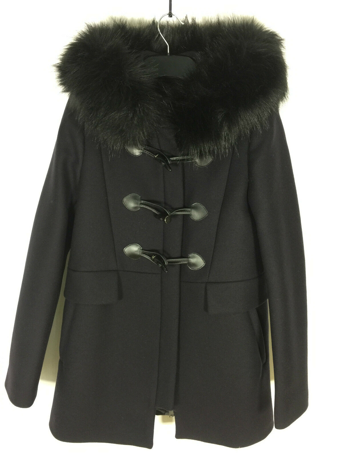 ZARA NAVY blueE DUFFLE COAT WITH FAUX FUR COLLAR SIZE SMALL REF 7904 744
