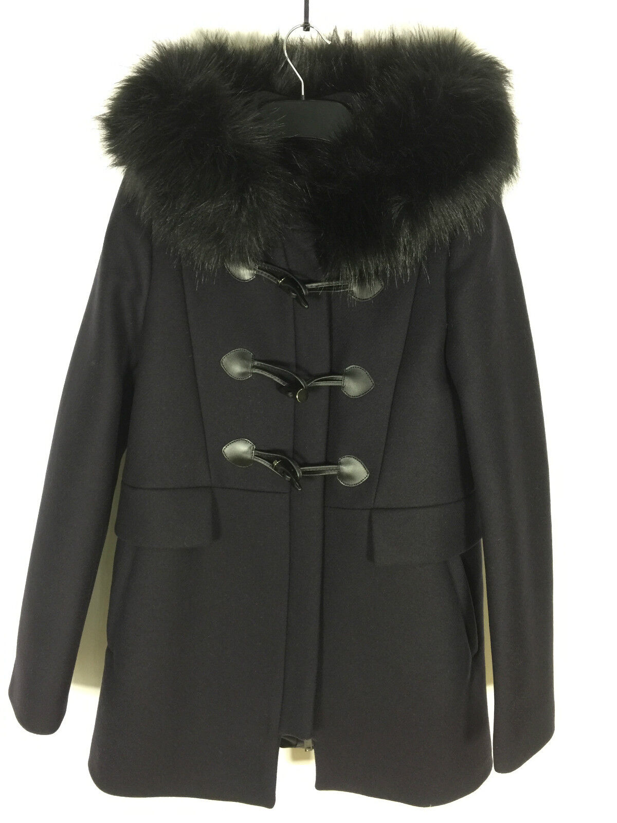 6a415ed5 Details about ZARA NAVY BLUE DUFFLE COAT WITH FAUX FUR COLLAR SIZE SMALL  REF 7904 744