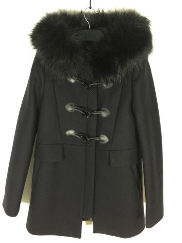 Zara 7904 Pelliccia Taglia Ref S Finta Con Montgomery Navy Colletto Blu Cappotto rYwaPSrq