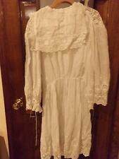 ANTIQUE DRESS-LACE-EMBROIDERED-1900s?WEDDING?40 INCH-WHITE LACE-WOMANS-NR!