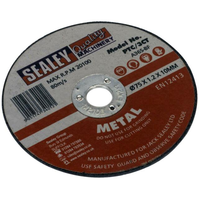 Sealey Métal Acier Inoxydable Disques de Coupe 75mm x 1.2mm Angle Meuleuse 10mm