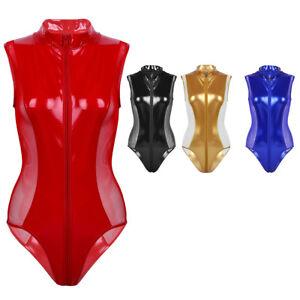Sissy-Women-Metallic-Bodysuit-Shiny-Leotard-Dancer-Jumpsuit-Romper-Top-Costumes