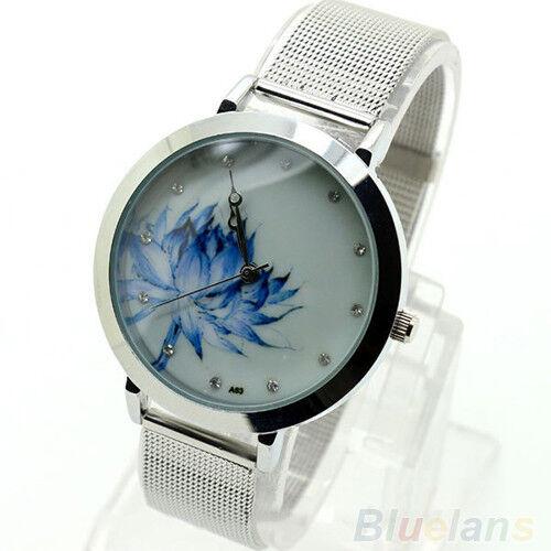 Elegant Womens Fashion Blue Lotus Stainless Steel Mesh Quartz Wristwatch NW BE4U