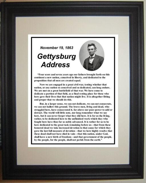 "Abraham Lincoln Gettysburg Address ""Four score"" Speech Framed Photo Picture #nb7"