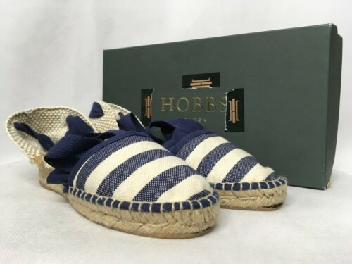 RRP £69 Hobbs Mia Stripe Leather Fabric Navy Multi Platform Shoes Various Sizes