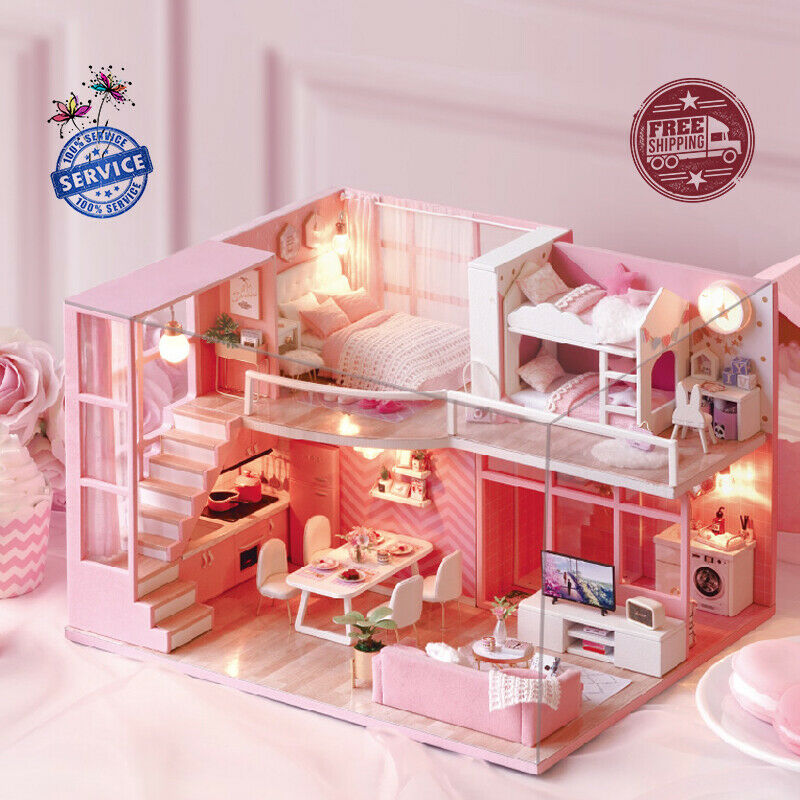 DIY Wooden Miniature Doll House Furniture Accessories Kit For Kids + Dust Cover
