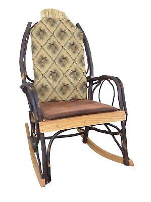 Amish Hickory Rocking Chair Pad Cushion Set In Golden Pine