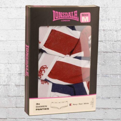 Lonsdale Damen 3er Pack Bukse Easton Slip Unterwäsche Frauen Panty Schlüpfer