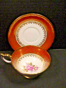 Aynsley-Orange-Gold-Chintz-Pink-Cabbage-Rose-China-Tea-Cup-amp-Saucer