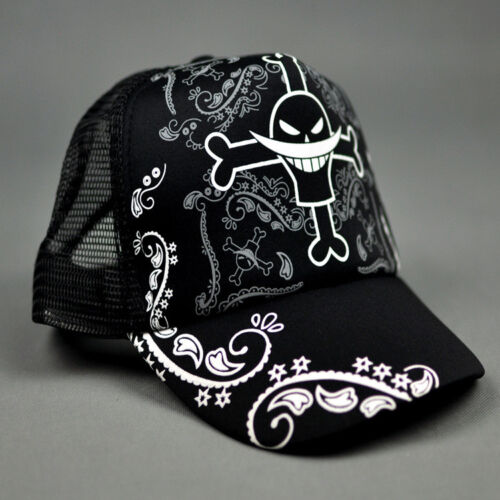 Anime One Piece Whitebeard Pirates Mesh Hat Cosplay Hats Baseball Cap Snapback