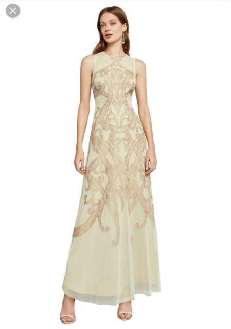 BCBG Maxazria Acotas Lace-Applique Dress Gown, Regal Champagne, New Sz 4