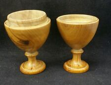 Antique Treen Pair of Collapsible Campaign Egg Cups Wooden 19th century