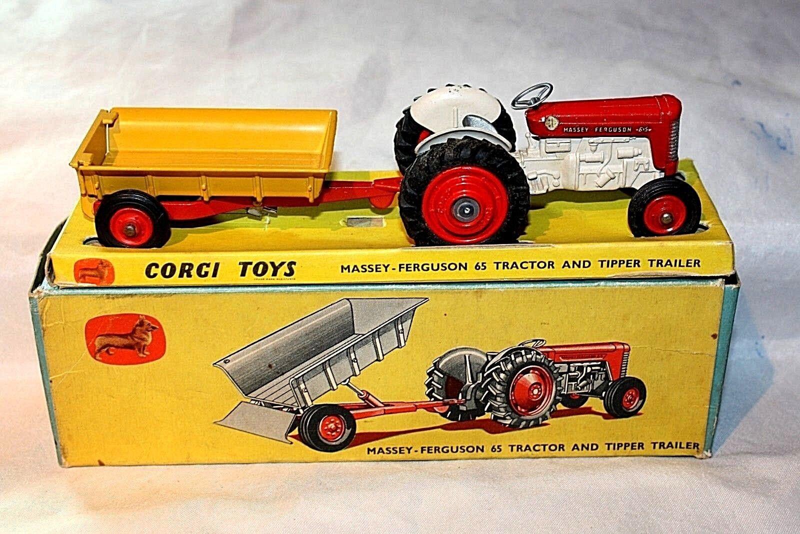 Corgi GS7 Massey-Ferguson 65 Tractor and Trailer, Great Condition, Original Box