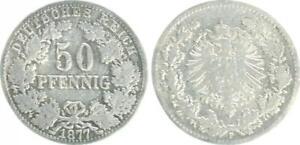 Empire 50 Pfennig 1877 F 'Beautiful' Very Fine/Fine