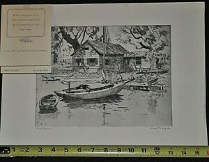 "Art Prints United Antique Etching ""point Pleasant"" By Lionel Barrymore Signed W/gift Card"