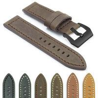 Dassari Bentley Leather Strap Band For Panerai W Matte Black Pre-v Buckle