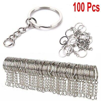 DIY 25mm Polished Silver Keyring Keychain Split Short Chain Key Rings LOT HOT !!