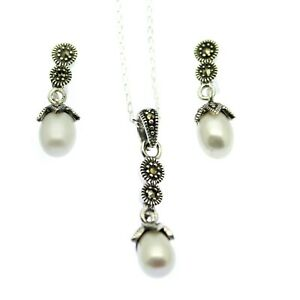 Pearl & Marcasite Pendant Necklace & Earring Set Sterling Silver Vintage Style