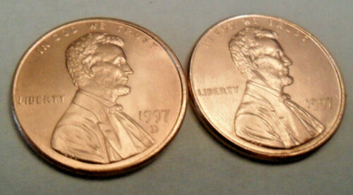 2 Coins 1997 P /& D Lincoln Memorial Cent Penny Set **FREE SHIPPING**