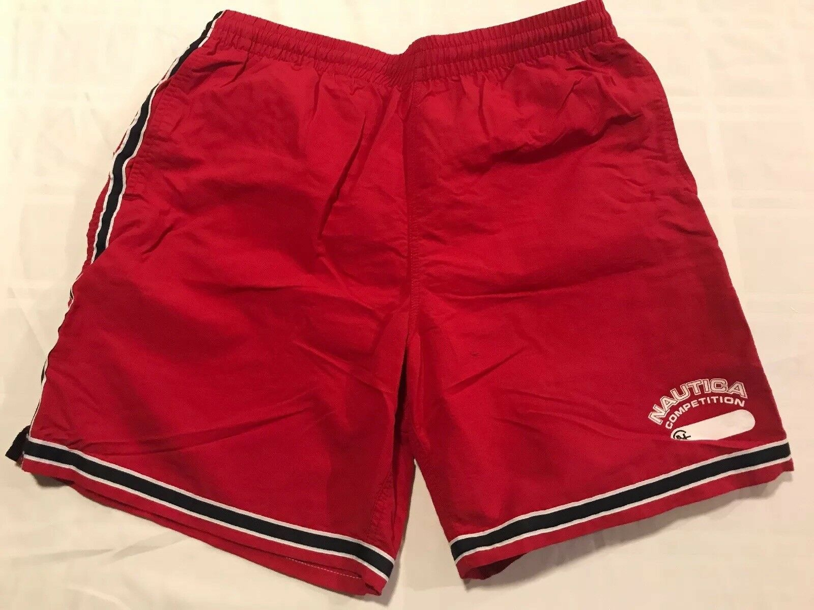 266d1a06090a7 Nautica Competition Swim Shorts Mens Sz Large Nylon Trunks Brief Lined Red  TS8