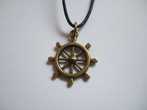 wiccan pagan Black Wax Cord with Vintage Bronze Charm Pendant Necklace