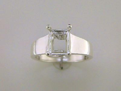 Emerald Cut Trellis Style Solitaire Ring Setting Sterling Silver