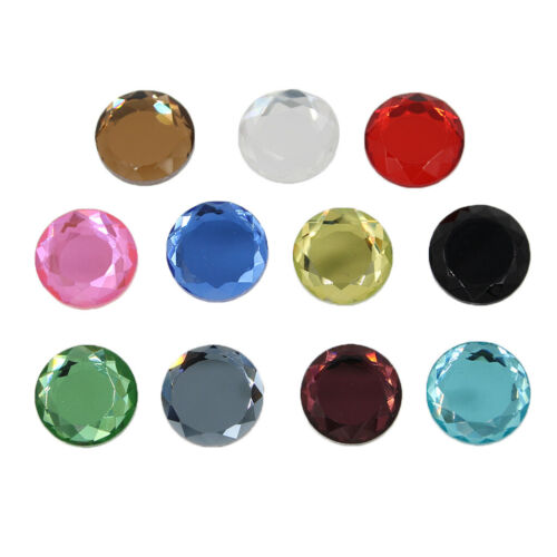 25x Round Faceted Glass Crystal Flatback Cabochon Scrapbooking Embellishment