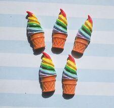 5pcs Rainbow ice cream cabochons flatback deco set decoden phone case cabs jewel