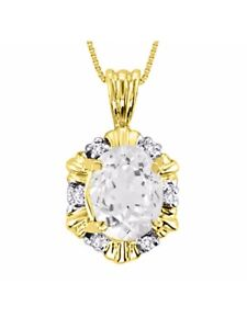 White-Topaz-amp-Diamond-Pendant-Necklace-Set-in-14K-Yellow-Gold-With-18-034-Chain-LP