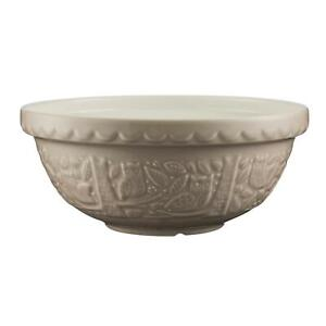 EMBOSSED OWL WOODLAND SCENES STONE BEIGE EARTHENWARE MIXING BOWL 26CM