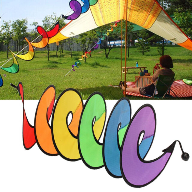 Camping Tent Foldable Rainbow Spiral Windmill Wind Spinner Home Garden Decor A